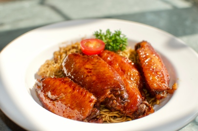 Soy Sauce Chicken Wing with Noodles